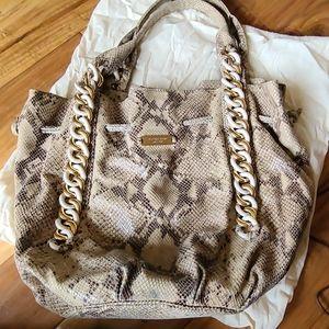 Snake embossed leather shoulder bag